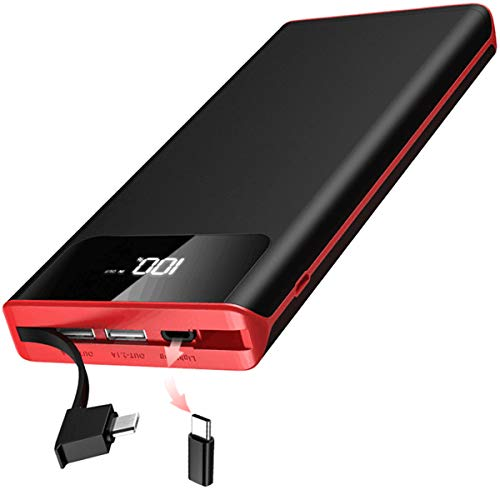 Gnceei 25000mAh Externer Akku Powerbank, 3 USB-Ausgänge und Dual-Adapter mit Eingebautem Kabel, Power Bank mit LED-Leuchten, kompatibel für Android-Smartphones, Tablets und mehr Dual-batterie-kabel
