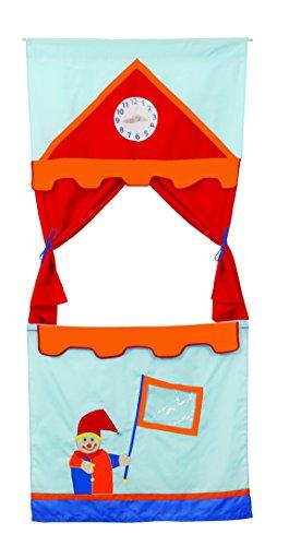 roba Tür Kasperletheater, platzsparendes Kinder Puppentheater inkl, 6 Handpuppen, Kaspertheater zum Aufhängen mit Stoffbespannung