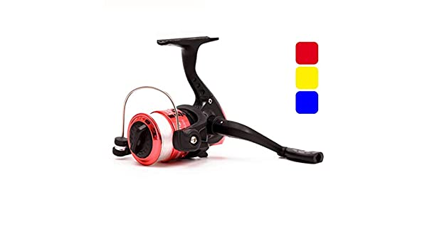 Leo Mini Kunststoffspinnrolle YF200 Kleine Angelrolle Mit 50 mt Nylon Angelschnur Rot Blau Gelb Farbe: Rot