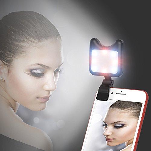 APEXEL Handy Selfie Light - mit 9 Beleuchtungsmodi - wiederaufladbar über USB - Light Kamera Zubehör für Smartphone iPhone und iPad und die meisten mobilen Geräte-Schwarz