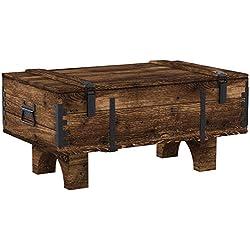 Coffre de Voyage en bois ancien Table Basse de Campagne hauteur 39 cm, profondeur 51 cm, largeur 80 cm ...