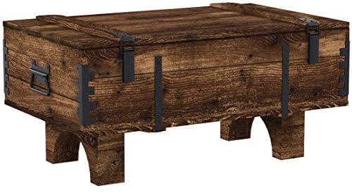 Coffre de Voyage en bois ancien Table Basse de Campagne hauteur 39 cm, profondeur 51 cm, largeur 80...