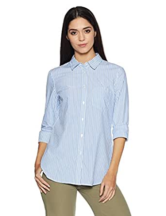 GAP Women's Button Down Shirt (148483300092_90871966402_Blue White Stripe_XXS)