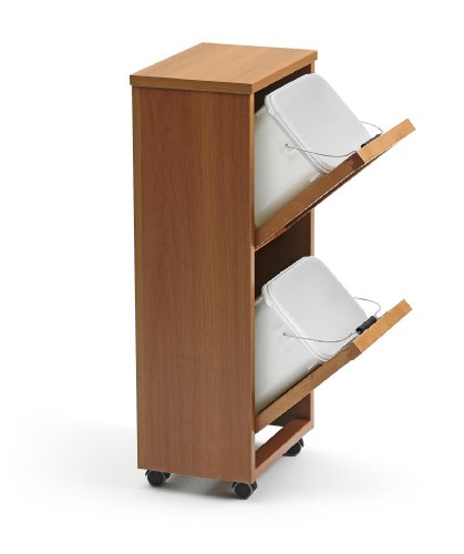 *Arredamenti Italia Mülltrennsystem MADERA 2, Holz – 2 abnehmbare Körbe – Farbe: Kirsche holz*