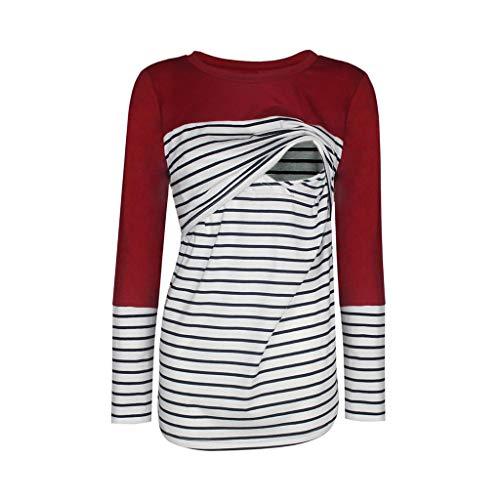 Amphia - Schwangerschaft Umstandsmode Tuniken - Gestreifte T-Shirt-Stillanzug für Schwangere Frauen mit Langen Ärmeln(Wein,L)