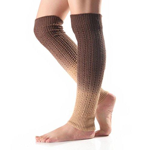 Igemy 53CM Winter Wärmer Frauen Bunte Häkelarbeit Knit Bein Stiefel Socken Deckel Manschetten Farbverlauf (H) (Stretch-knit-bein-wärmer)