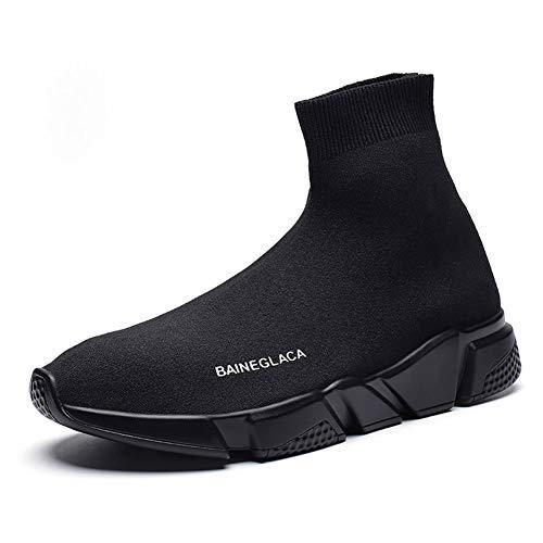 Hommes Femmes l'hiver Neige La Mode Baskets Poids léger Chaud Doublé de Fourrure Casual Athlétique Chaussures de Course Tricoté Chaussettes Chaussures Noir 35 EU