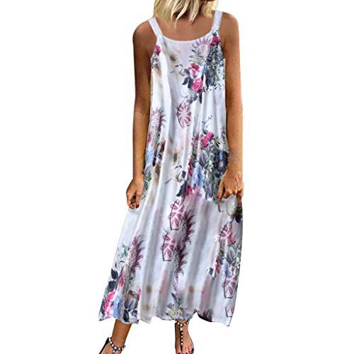 Xinantime Vestito da spiaggia estiva cotone e lino senza maniche, Abito con stampa floreale Abiti da Spiaggia Lunghi Ragazza Sottoveste Camicie.