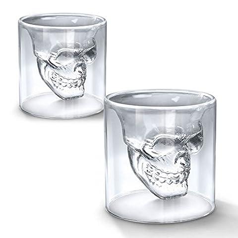 SHOP STORY - Lot de 2 Verres Tête de Mort - Shooters pour Liqueur Whisky Vodka etc