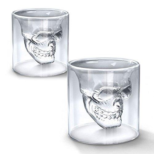 Shop Story– 2Gläser im Totenkopfdesign, Shotgläser für Likör, Whiskey, Wodka usw.