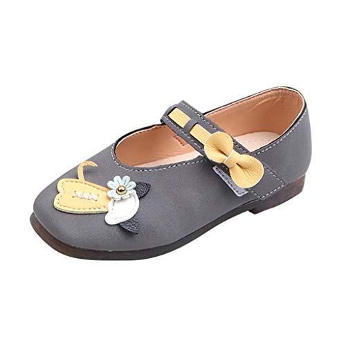 Heligen_Baby Shoes Baby Schuhe Kinderschuhe Schuhe für Kinder Kleinkind Baby Mädchen Kinder niedlichen Cartoon Katze Leder einzelne Schuhe Prinzessin Schuhe (23 EU, Grau)