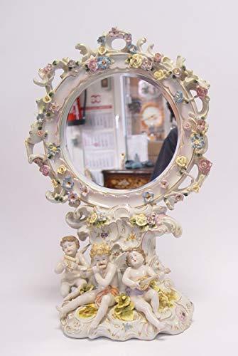 Casa Padrino Barock Schmink Tisch Spiegel Porzellan Rokoko Tischspiegel Kosmetik Spiegel