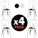 Due-homeLot de 4chaises style Tolix avec structure métallique 46,5x 84x 52,2cm Blanc brillant