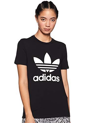 adidas Damen Trefoil Tee T-Shirt, Schwarz (Black/White), D34