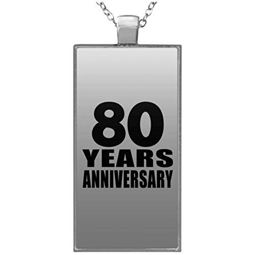 80th Anniversary 80 Years - Rectangle Necklace Halskette Rechteck Versilberter Anhänger - Geschenk zum Geburtstag Jahrestag Muttertag Vatertag Ostern (Bday 80th Ideen)