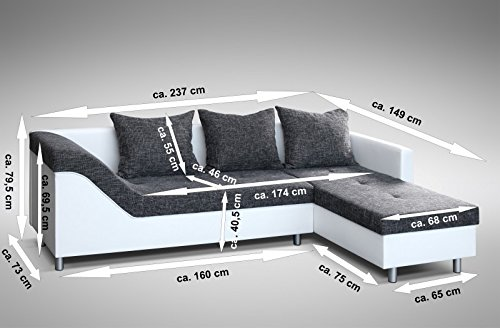 Sofa Couch Ecksofa Eckcouch Sofagarnitur in weiss / graubraun - Lissabon 2- R - 2