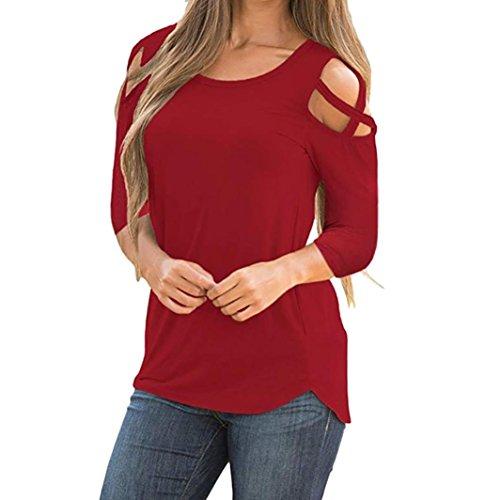 Lucky mall Frauen-T-Shirt mit Drei Vierteln Riemchen Cold Shoulder Tops