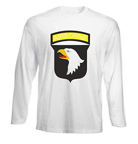 abb0148cb246 T-Shirt por los Hombre Manga Larga Blanca TM0005 Airborne U S Army Brasile