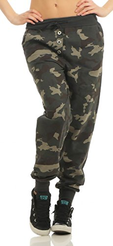 Damen Freizeithose Sporthose Sweat Pants Camouflage lang (633), Grösse:S / 36, Farbe:Armee