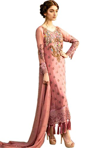 Shoppingover ethnic Indian Party wear embroidery new Design Salwar Kameez Bollywood Dress-Pink...