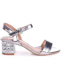 906567f2485 Linzi Missy - Silver Metallic Mid Heel with Diamante Block Heel
