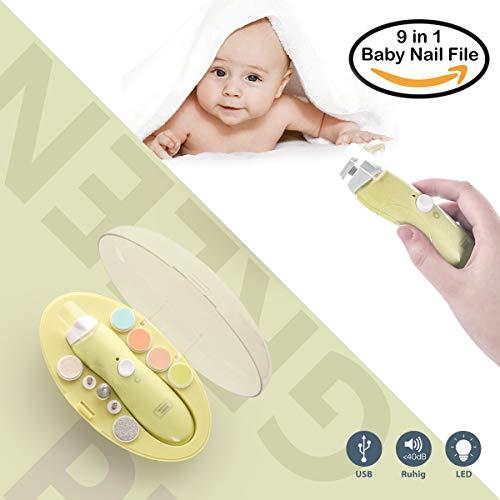 Elektrisches Baby Nagelfeile,USB-Ladevorgang, Nagelknipser Set 9 in 1,Baby Maniküre/Pediküre Set,Baby Nagelpflege mit LED Licht für Neugeborene, Kleinkind und Mom Zehen und Fingernägel(Grün)