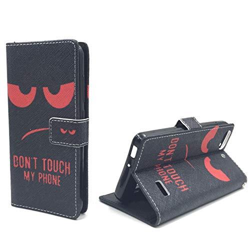 König Design Handyhülle Kompatibel mit Huawei G Play Mini/Honor 4C Handytasche Schutzhülle Tasche Flip Case mit Kreditkartenfächern - Don\'t Touch My Phone Rot Schwarz
