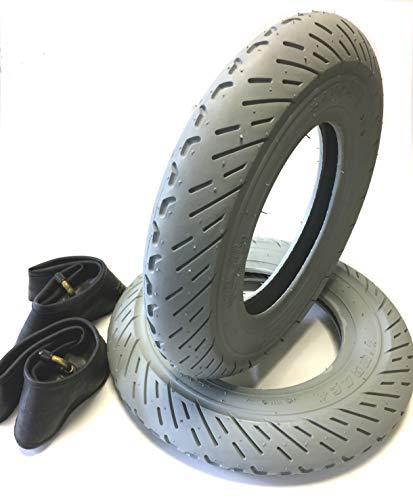 Rollstuhlreifen 2 Stück 3.00-8, grau + 2 Stück Schlauch Winkelventil, Scooter Racing Profil Leichtlauf, 4 PR Stabiler Reifenaufbau, Rollstuhl Reifen für Elektromobil, Scooter, E-Rollstuhl - 3-rad-rollstuhl