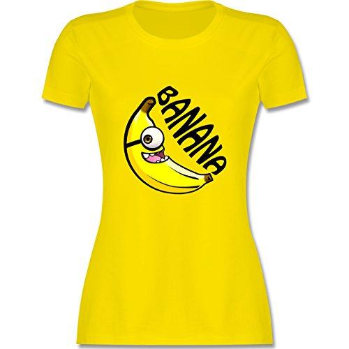 Comic Shirts - Banana gelb einäugig - tailliertes Premium T-Shirt mit Rundhalsausschnitt für Damen Lemon Gelb