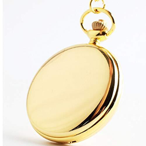 FGJMN Taschenuhren 2019 Retro Klassische 4,5 cm Größe Silber Polnischen Quarz Männer Taschenuhr Steampunk Halskette Geschenk Quarzuhr Relogio, Gold