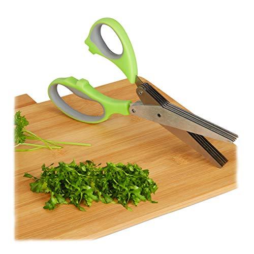 Relaxdays Kräuterschere Edelstahl, 5 Klingen, rostfrei, Rechts- & Linkshänder, frische Kräuter, Küchenschere, grün-grau