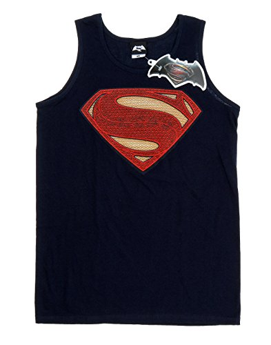 DC Comics Uomo Superman Man of Steel Logo Canotta Blu scuro