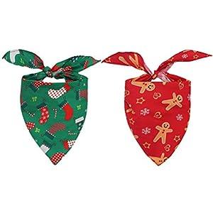 HOMIMP 2 Pack Christmas Dog Bandanas Pet Scarfs Cute Triangle Bibs for Puppy  Cats 6fe62da24