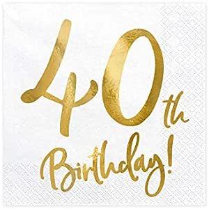 Party Deco Servietten Für Geburtstag 40th Birthday 40 Geburtstag Mit Goldschrift 33 X 33 Cm Geburtstagsdeko Papierservietten Für Event Geburtstagparty Jubiläum Geburtstagsfeier Bürobedarf Schreibwaren