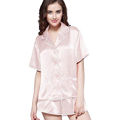 LILYSILK Ensemble De Pyjama En Soie Femme Pyjama Short Avec Passepoil 100% Soie Rose Clair