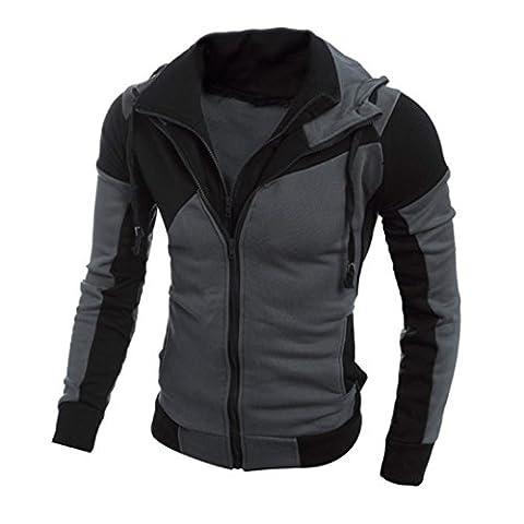Men Jackets Longra® Men DOUBLE Layer Zipper Design Long Sleeve Hooded SPLICE COLOR Jacket Coat Outwear * ! (Black, L)