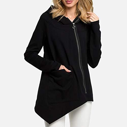 Diagonale Saum Top (BQGHUA Unregelmäßiger Rand Kapuzenpullis Mäntel Frauen Plus Size 3XL Diagonale Reißverschluss Sweatshirt Weibliche Herbst Tasche Weiß Schwarz Tops)