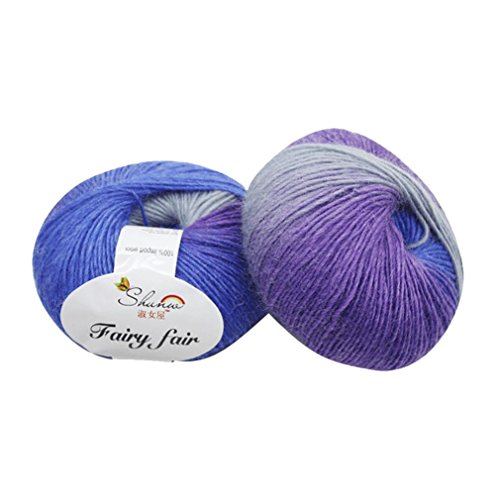 HKFV 1pc 50g Chunky Handgewebte Regenbogen Bunte Knitting Scores Wollmischung Garn Lady Haus Wolle Regenbogengarn Strickwolle Strickgarn Knitting Yarn (H) (Womens Double-knit)