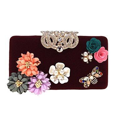 pwne L. In West Woman Fashion Luxus High-Grade Die Dreidimensionale Blumen Abend Tasche Drak Red