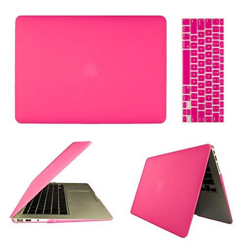 frixie (TM) Hot Rosa Laptop Custodia rigida gommata Cover e Tastiera per MacBook Air 13