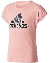 adidas Yg Logo Tee Camiseta, Niñas, Rosa (Rostac / Negro), 140
