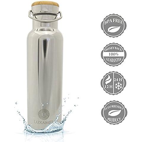 Luxamel - Borraccia sportiva in acciaio INOX a doppia parete, termoisolante, mantiene le bevande fredde per 24 ore e calde per 12, 500/600 ml, senza BPA - 600ml - Brillante