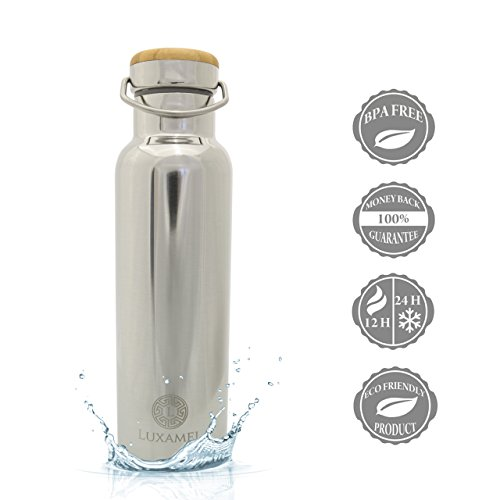 Luxamel - Borraccia sportiva in acciaio INOX a doppia parete, termoisolante, mantiene le bevande fredde per 24 ore e calde per 12, 500/600 ml, senza BPA - 500 ml - chrom