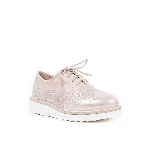 Ideal Shoes Derbies Nacrées Effet Daim Violette Rose