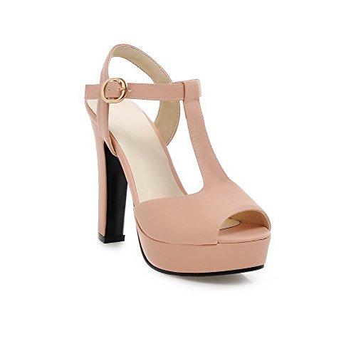 AllhqFashion Damen Schnalle Fischkopf Schuhe Sandalen Mit Hohem Absatz Pink
