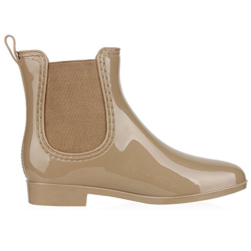 napoli-fashion Damen Lack Stiefeletten Gummistiefel Chelsea Boots Schuhe Gr. 36-41 Jennika Khaki