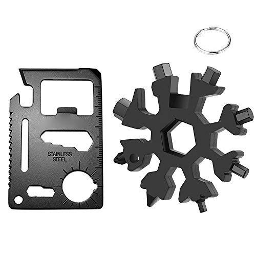 ORSIFOW 18 in 1 edc Multitool Schneeflocke, Kreditkarte Multitool, edc Kreditkarten Messer, Outdoor edc Werkzeug  Schwarz