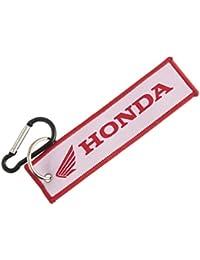 Techpro Premium Quality Cloth Locking Keychain With Doublesided White Honda Design