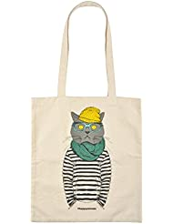 Tote Bag coton happy animals chat