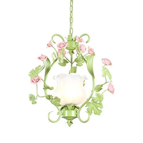 GAOLILI Lampe Pastorale Fleurs Lustre Romantique Romantique Restaurant Chandeliers Balcon Allée Fer Forgé Lustre E27